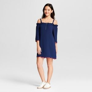 Lily Star Dresses - Navy Off Shoulder Dress